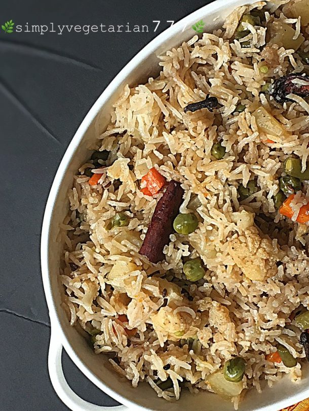 Vegetable Pulav Instant Pot Recipe is perfect for all the Pulav and Instant Pot Fans. You will get perfect texture Pulav every time, when cooked in Instant Pot. It is an easy, simple and efficient method. cooking in Pan & Pressure Cooker methods given too. #vegetablepulav #vegetablepilaf #vegetablepulao #instantpotindianrecipes #instantpotveganindianrecipes #instantpotglutenfreeindianrecipes #instantpotricerecipes #instantpotpulao #instantpotpulav #instantpotpilaf #instantpoteasyrecipes #ricerecipes