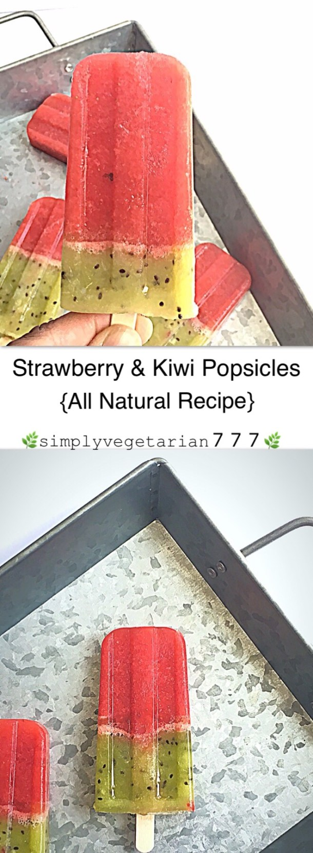 These All Natural Strawberry Kiwi Popsicles are Easy, Efficient & Delicious Popsicles made with Everyday Simple Ingredients. It is a no-hassle popsicle recipe which comes together in no time. This No-Cook Popsicle recipe is perfect to beat the summer heat in fun and healthy way. #summertreats #summerdessert #popsicle #healthypopsicle #allnaturalpopsicle #strawberry #kiwi #healthypopsicle #nocookicecream