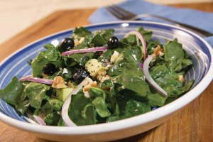 Spinach Avocado and Blueberry Salad with Lemon Chia Dressing