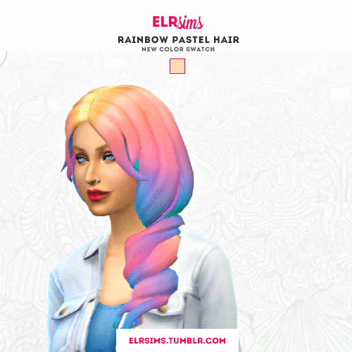 Sims 4 Hairs ELR Sims Rainbow Pastel Hairs 3 Recolors