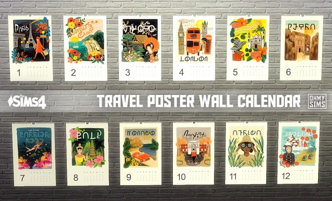 travel poster wall calendar at oh my