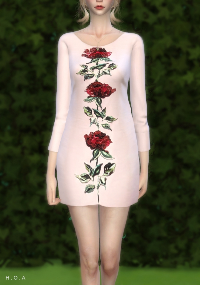 ROSE HAND EMBROIDERED DRESS At HOA Sims 4 Updates