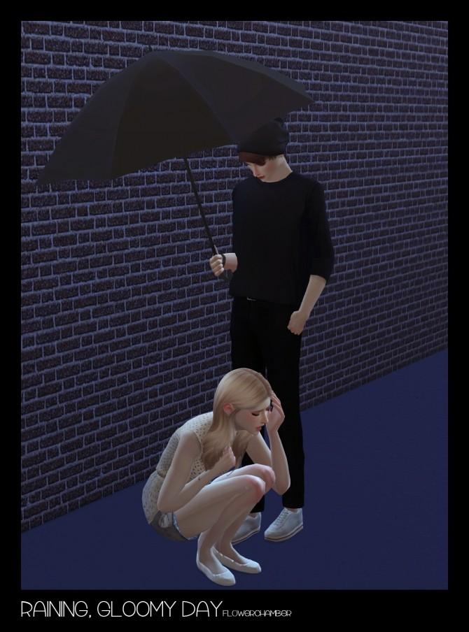 Raining Gloomy Day Crying Umbrella Set Poses At