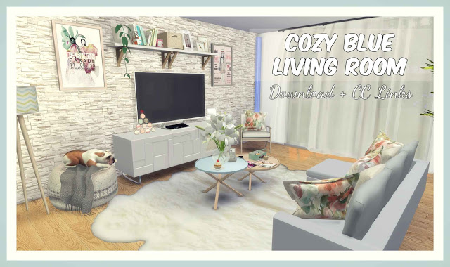 Cozy Blue Living Room At Dinha Gamer » Sims 4 Updates