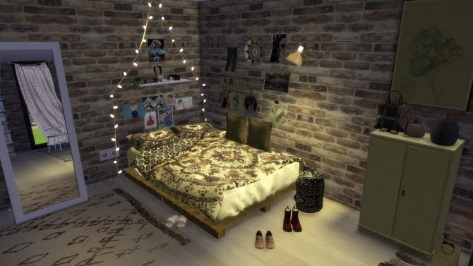 Urban Boho Bedroom At Portuguesesimmer 187 Sims 4 Updates
