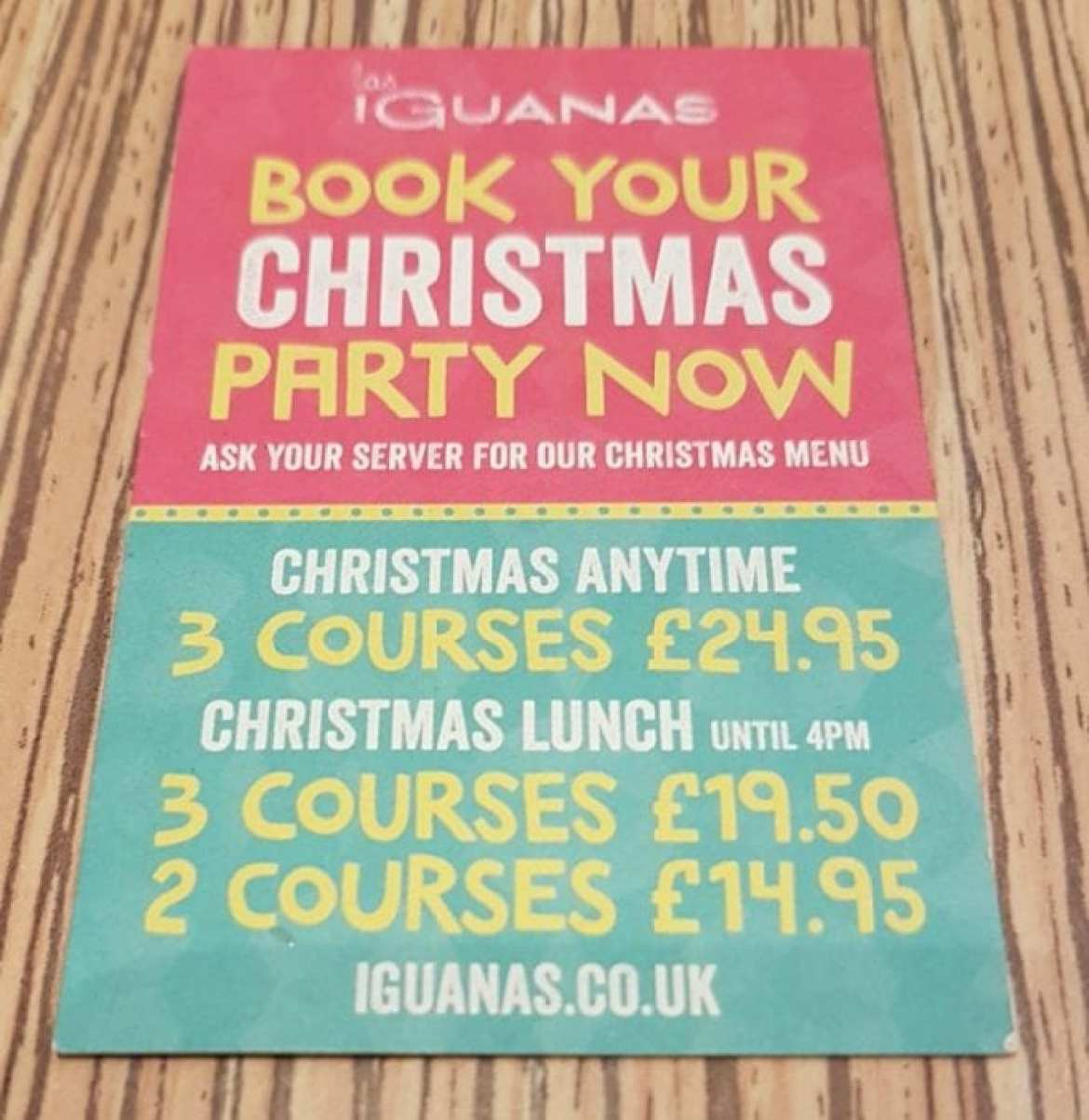 Las Iguanas Christmas deals