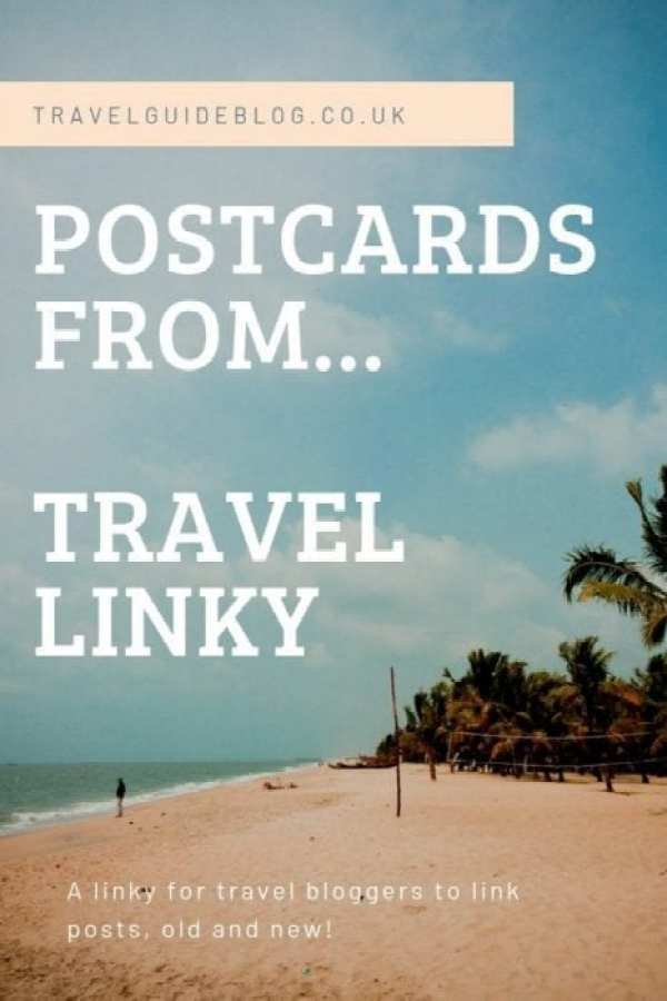 Postcards From Travel Link Up Pinterest Image of a sandy beach