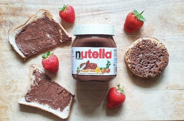 Nutella with toast and crumpets