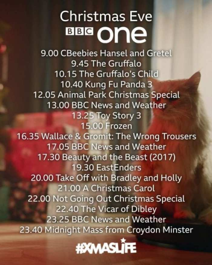 BBC One Christmas Eve TV 2019