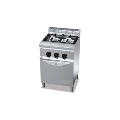 Cocina industrial 2 fuegos y horno a gas Berto's G6F2HG+FG1
