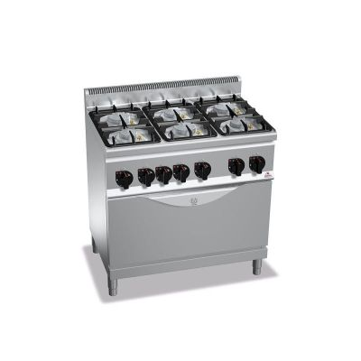 Cocina industrial 6 fuegos a gas y horno Berto's G6F6PW+T