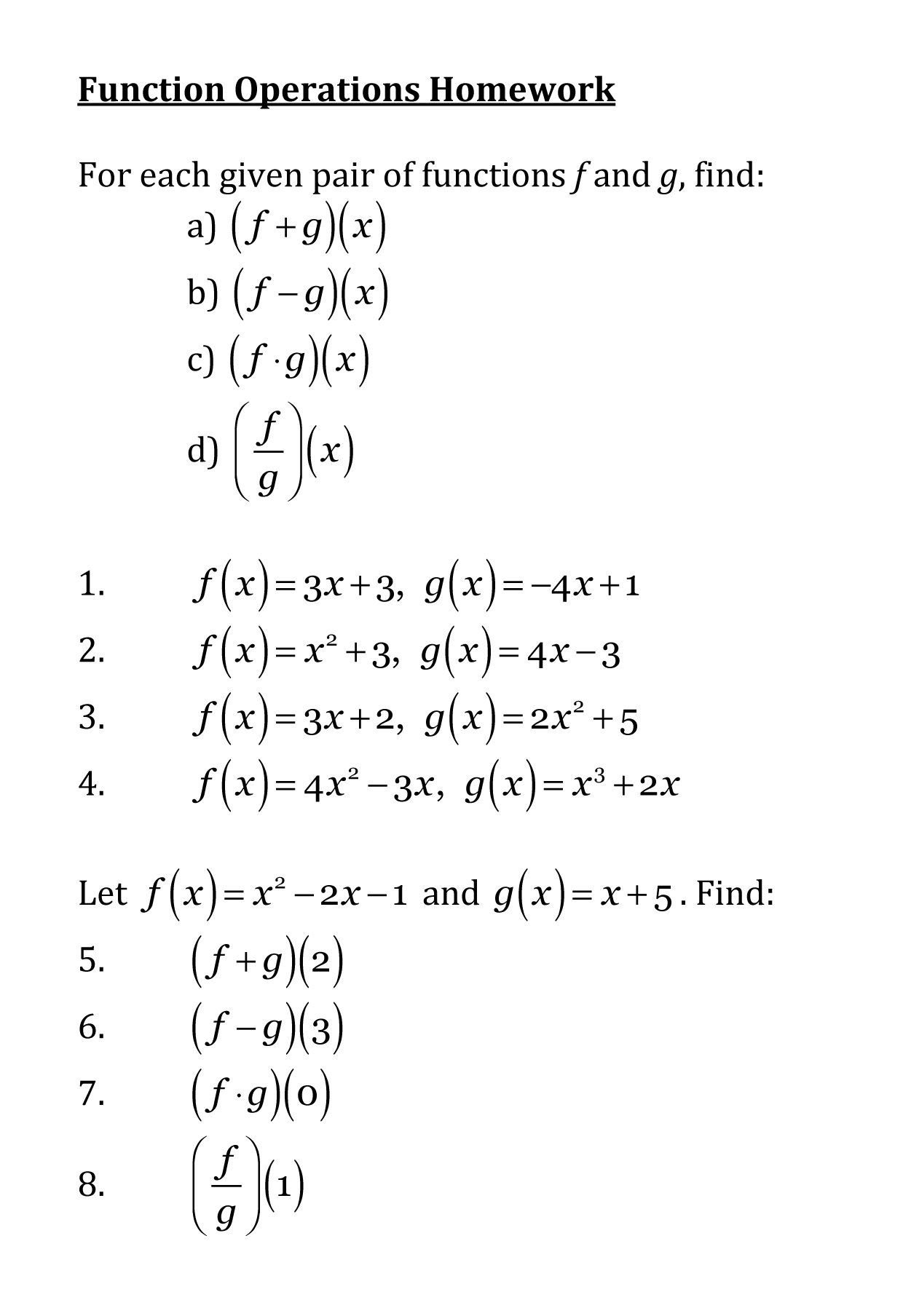 Math Functions Worksheet Answers