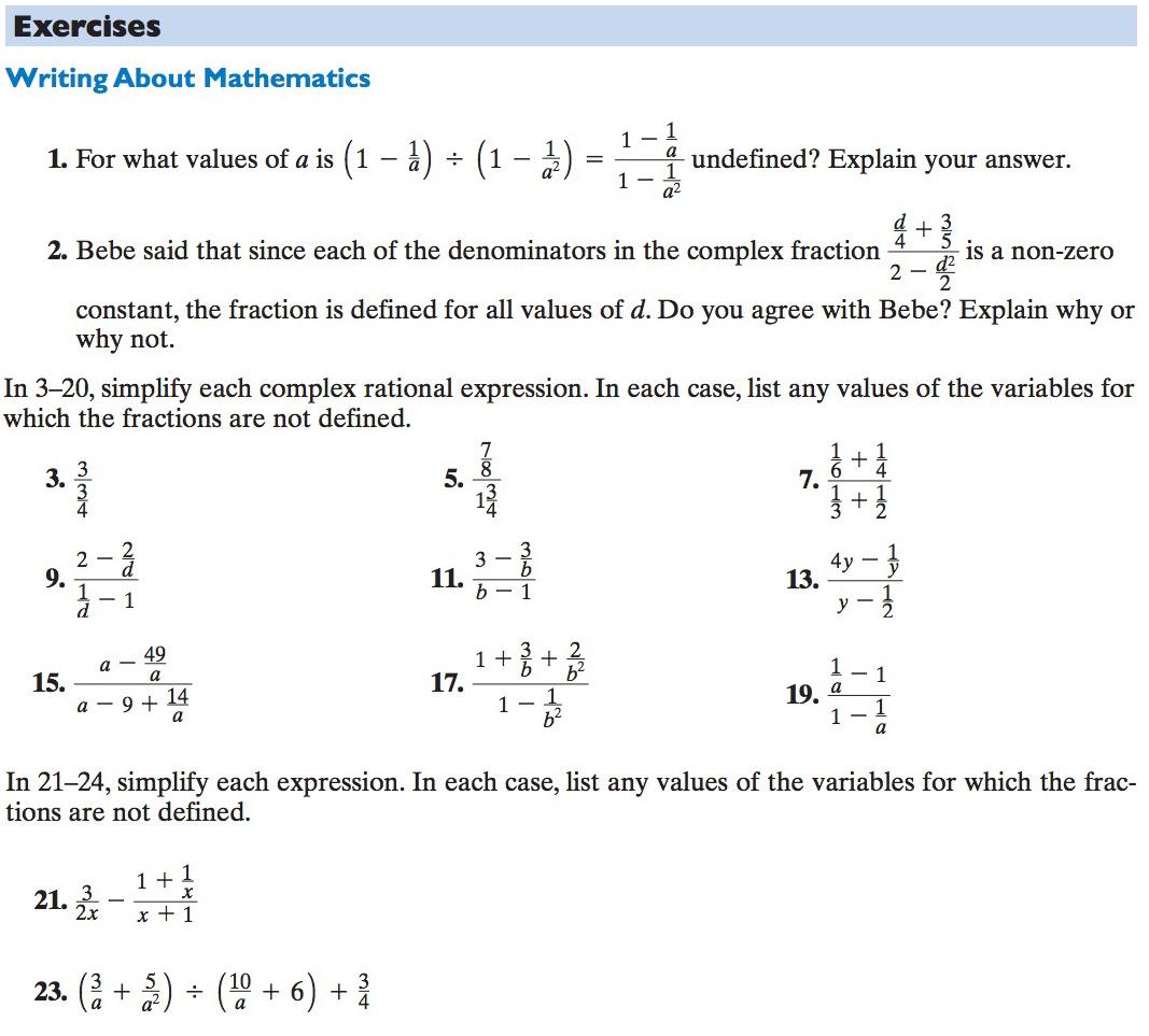 Hw Complex Fractions