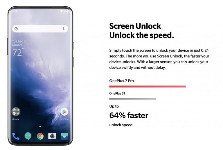OnePlus 7 Proのディスプレイ指紋認証