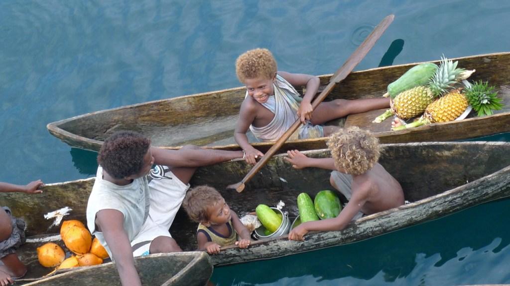 Canoe fruit salesmen