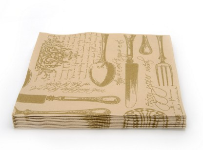 SimuLinen Gallery Vintage Brown and Gold Dinner Napkin