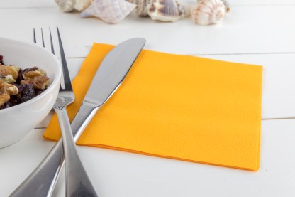 SimuLinen Cocktail and Party Napkins Beverage Napkins – Decorative, Absorbent, Cloth Like and Disposable - Orange
