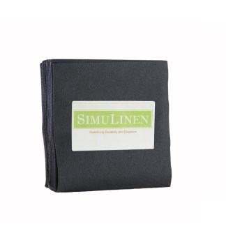 SimuLinen BLACK Cocktail Beverage Napkins