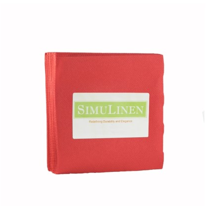 SimuLinen Red Cocktail Beverage Napkins