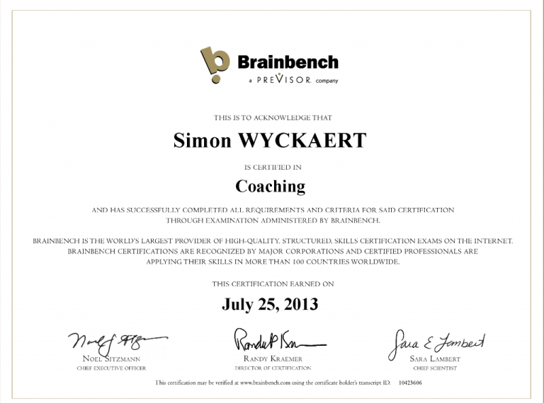 certificat coaching brainbench