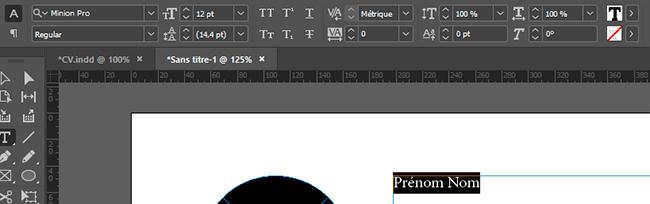 éditer texte indesign cv