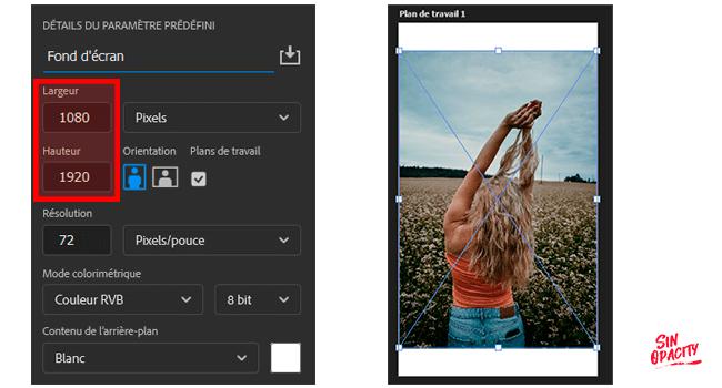 dimensions fond d'écran mobile sur photoshop