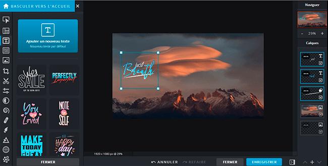 créer fond d'écran gratuit avec texte pixlr