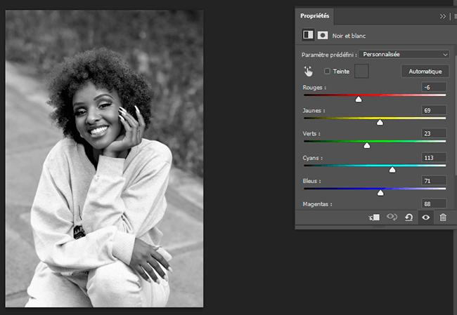 réglages portrait noir et blanc photoshop