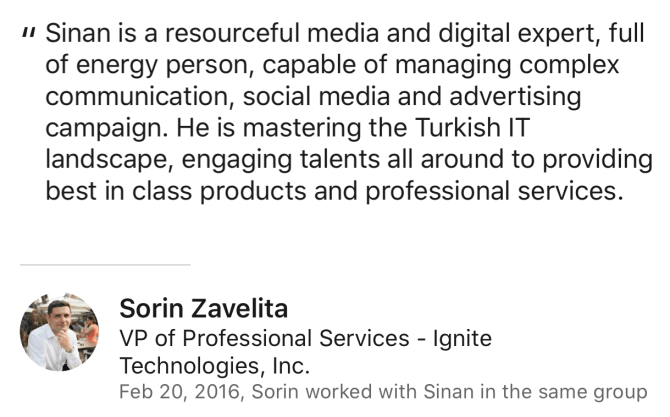 Sorin Zavelita Review for Sinan Ata