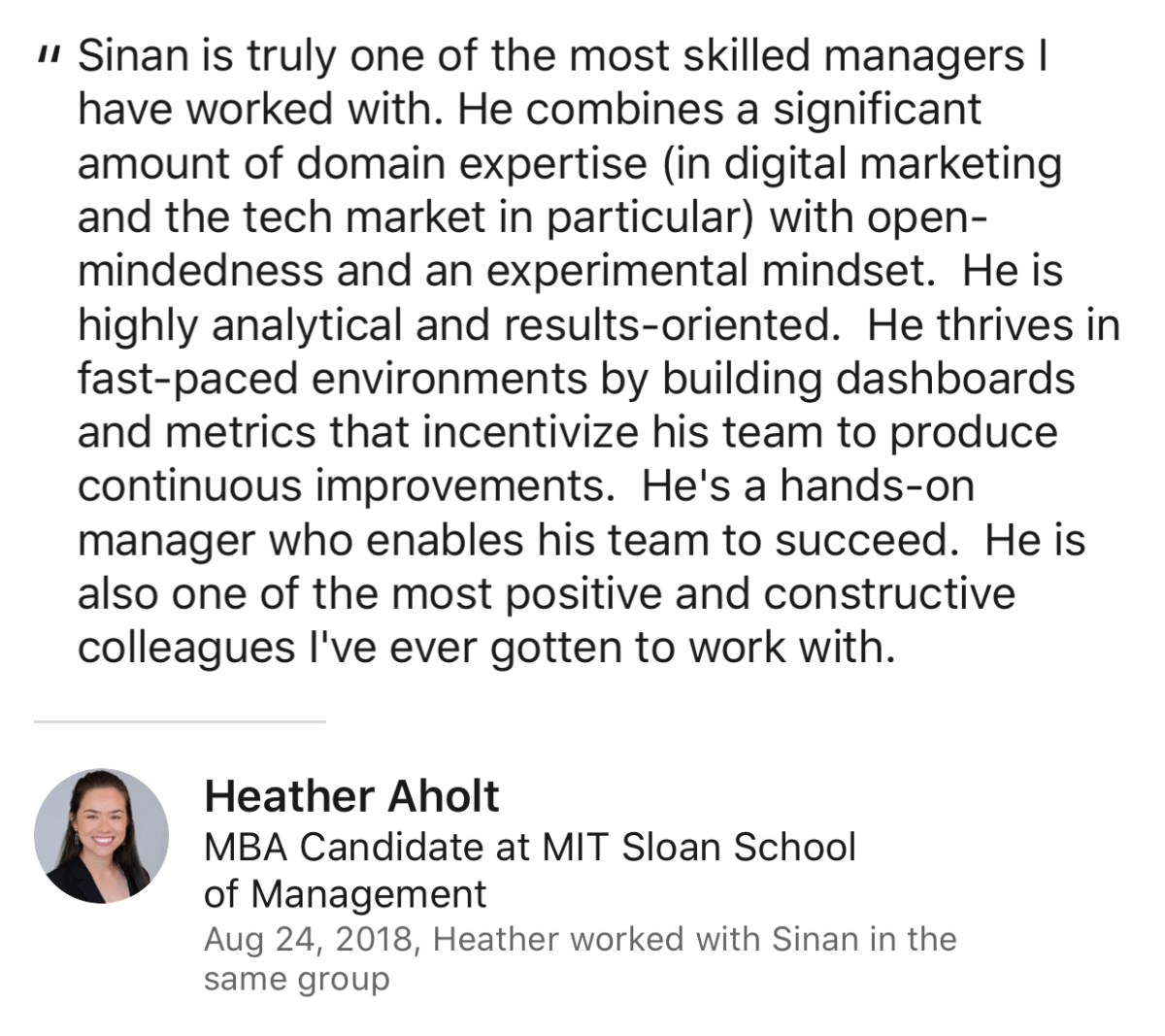 Heather Aholt Review for Sinan Ata