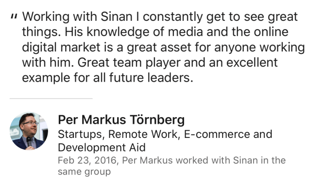 Markus Törnberg Review for Sinan Ata