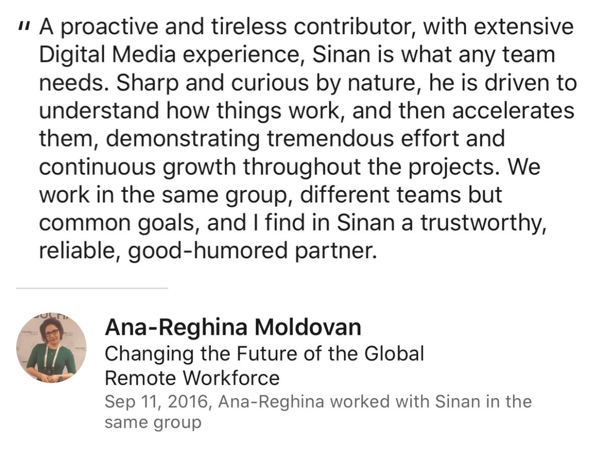 Ana Moldovan Review for Sinan Ata