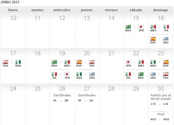 Calendario de los partidos de la Copa Confederaciones