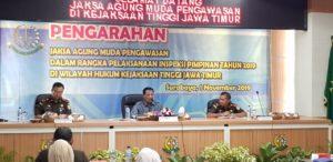 Jaksa Agung Muda Bidang Pengawasan Kejaksaan Agung (Jamwas) M Yusni menggelar inspeksi pimpinan untuk wilayah Jawa Timur, pada Jumat (01/11/2019).