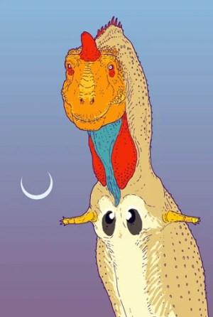 Zu sehen ist ein Tyrannosaurus Rex ähnlicher Dinosaurier in grellen gelben, roten und blauen Farbtönen. Die winzigen Arme hat er wie für eine Umarmung nach außen gestreckt.
