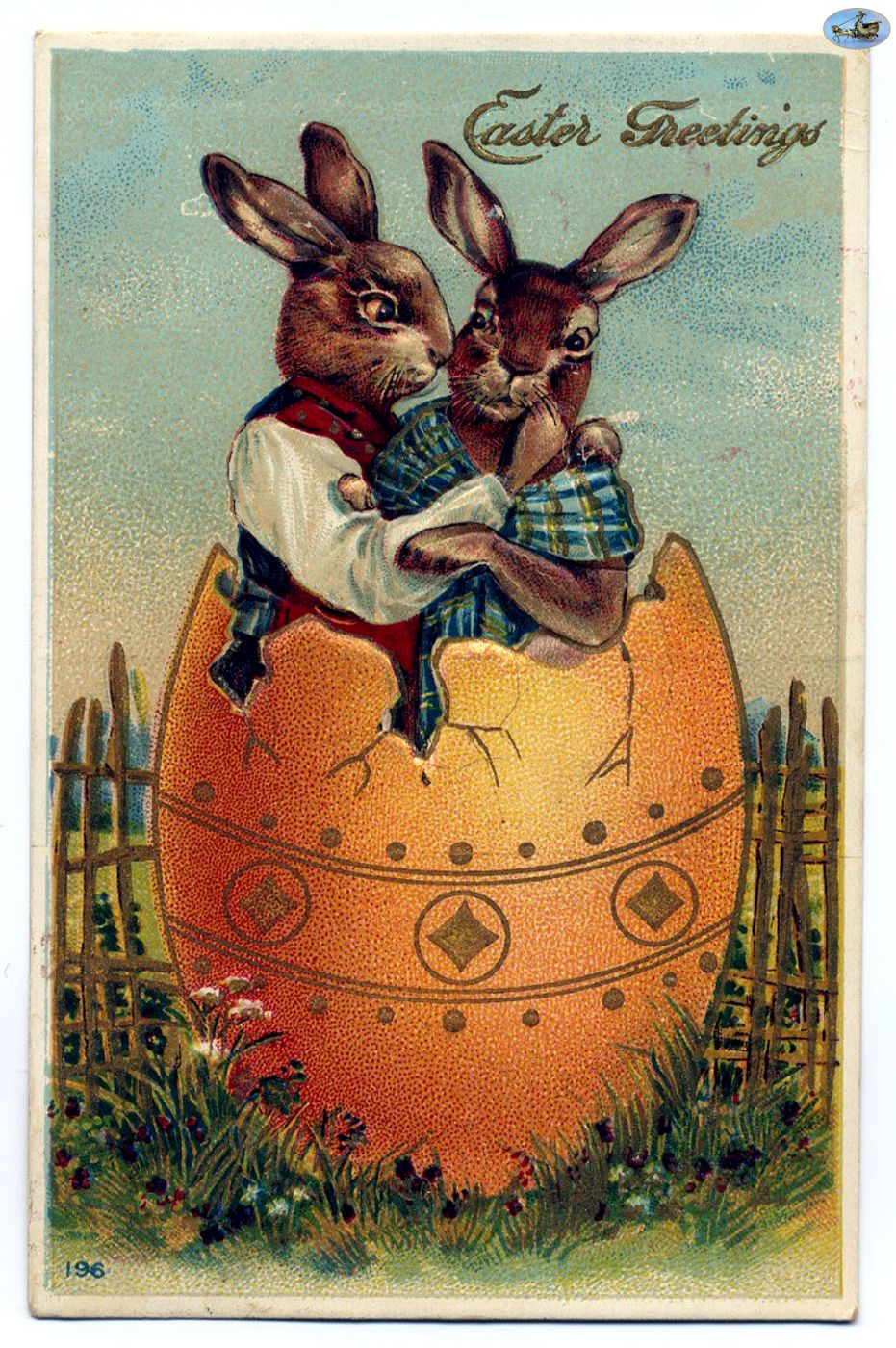 Antique Embossed Easter Greetings Postcard Early 1900s