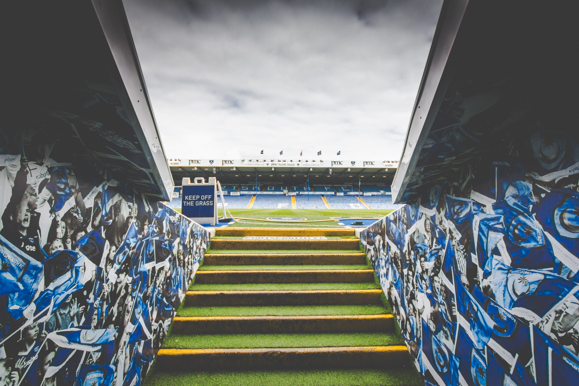 Photo of the Fratton Park pitch as seen from the tunnel. Taken during a Strong Island Photography Walkshop.