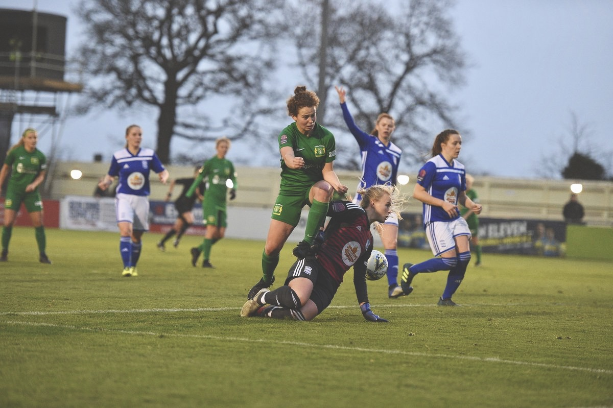 Emily Syme slots home her first @FAWSL goal against Birmingham in December. Photo: @YeovilLadiesFC