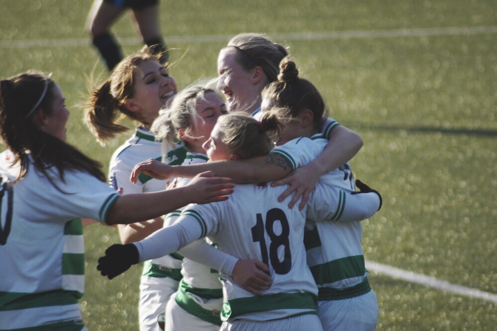 The New Saints Ladies FC Celebrating. Taken by Adam Nunn.