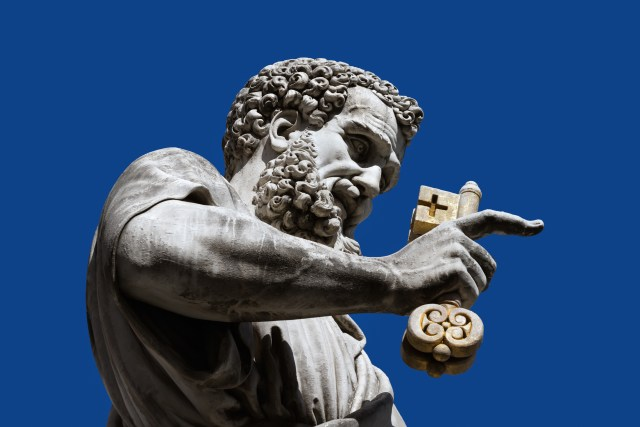 Apostle Peter with a key before St. Peter's Cathedral, Vatican