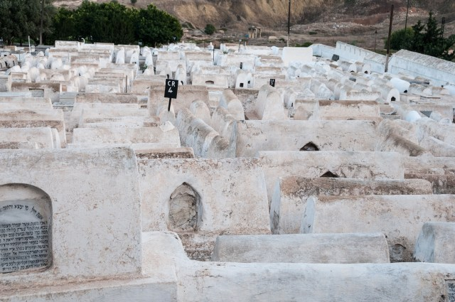 White tombs in Jewish Cemetery dedicated enclosures are tombs of rabbis in Mellah quarter