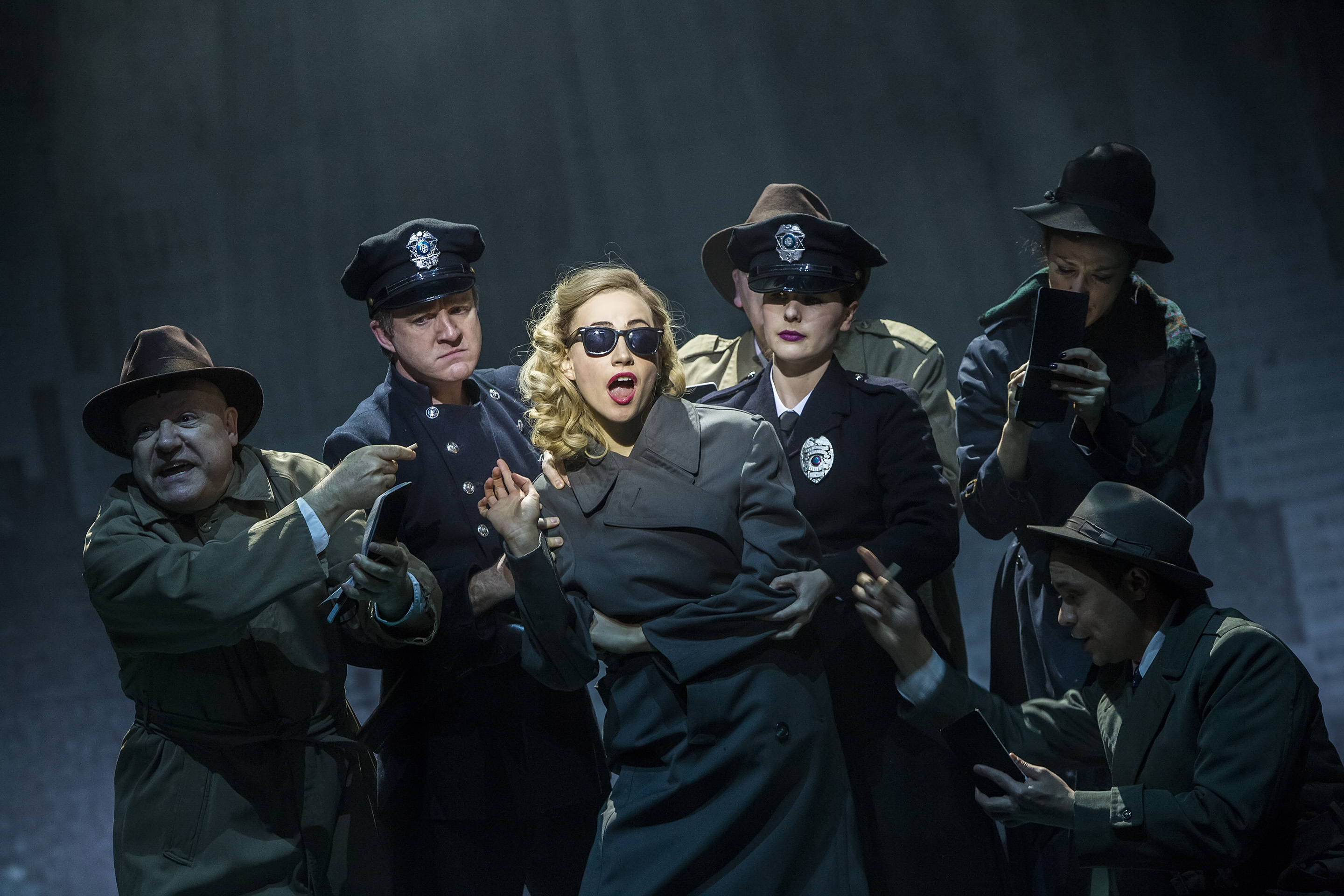 Pixie Lott as Holly Golightly (centre) and the cast of Breakfast at Tiffany's Credit Sean Ebsworth Barnes