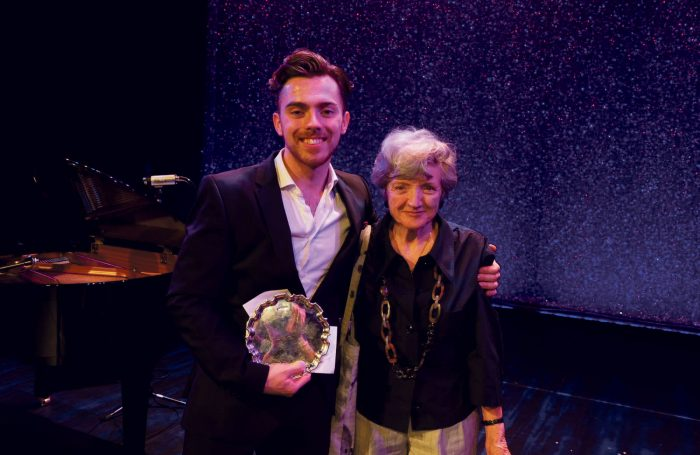 Alex Cardall and Julia McKenzie after winning the Sondheim Performer of the Year Award Credit: David Ovenden