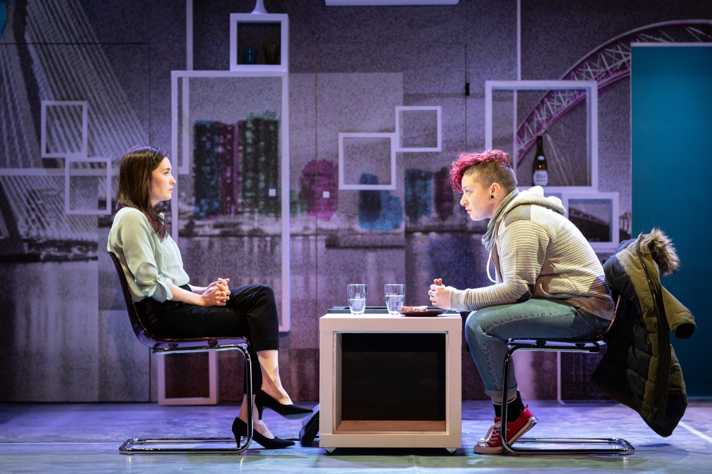 Bethan Cullinane as Alice and Lucy Jane Parkinson as Fiona/Adrian in Rotterdam