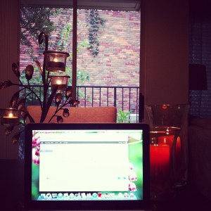 Rainy words & Glowing candles