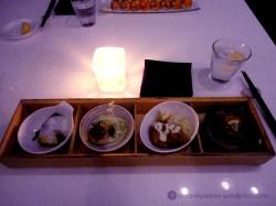 From left to right: Saikyo Miso Sablefish, Pan-Seared Alaskan Scallop, Jidori Chicken Nanban, Aburi Maguro Sashimi
