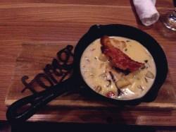 Smoked Sablefish and Chanterelle Mushroom Chowder, tin whistle sabayon, guanciale, bone marrow crouton