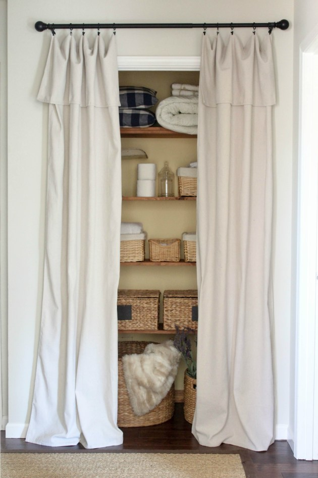 curtains for closet doors Closet Door Alternative   Easy Drop Cloth Curtains   Sincerely  curtains for closet doors