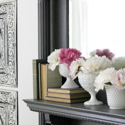 Summer Mantel with Peonies & Milk Glass