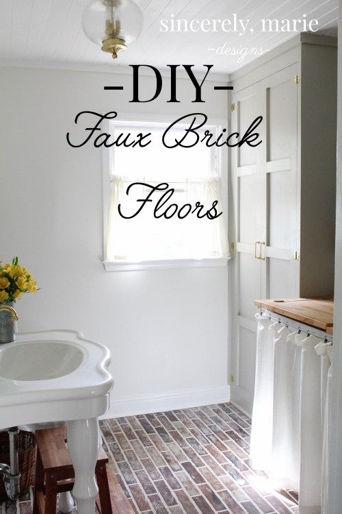 DIY Faux Brick Flooring - Sincerely, Marie Designs